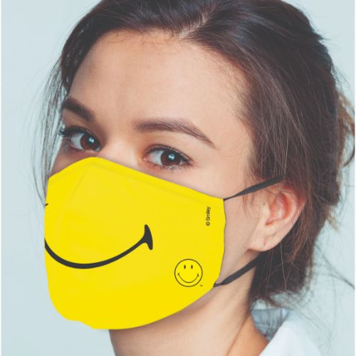 Original Smiley Brand Reusable Anti Viral Face Mask - with 2 Certified Filter- Yellow Smiley